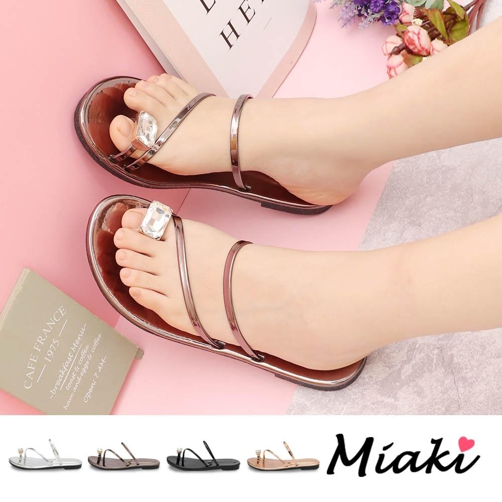 Miaki-涼鞋.金屬感夏日亮眼平底涼鞋 (鐵灰色)