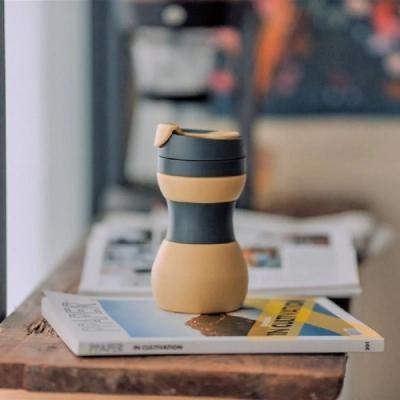 仁舟淨塑 矽密咖啡杯500ml-拿鐵(黃黑)