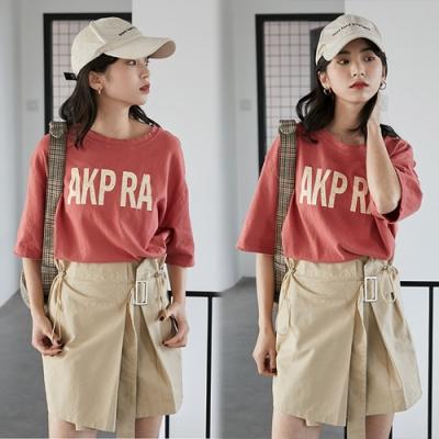 【韓國K.W.】(預購)韓時尚休閒印花字母上衣-3色