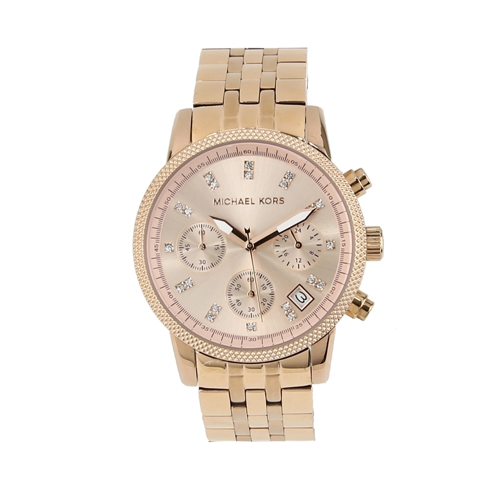 Michael Kors 水晶鑽不鏽鋼石英三眼女錶腕錶36mm(MK6077 玫瑰金)