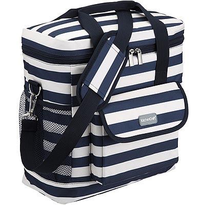《KitchenCraft》肩背雙網層保冷袋(條紋藍12L)