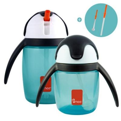 (買就送10%超贈點)【荷蘭 Umee】 優酷企鵝吸管杯組 240+360ml 加贈替換吸管2組 (2色可選)