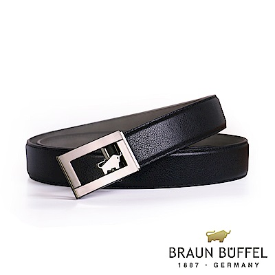 BRAUN BUFFEL - 經典鏤空LOGO自動扣皮帶 - 鎗色