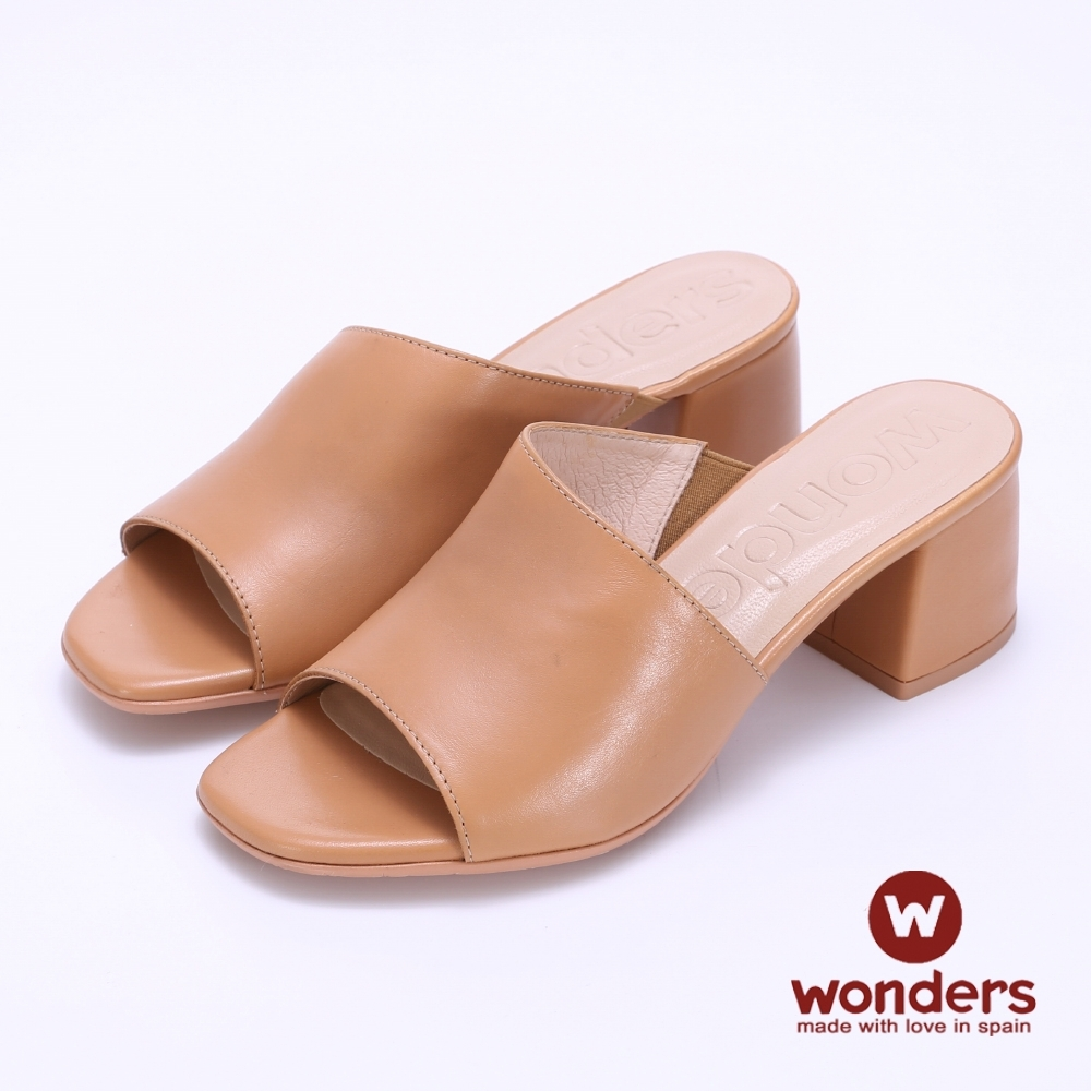 WONDERS -經典素面增高粗跟涼拖鞋-卡其色