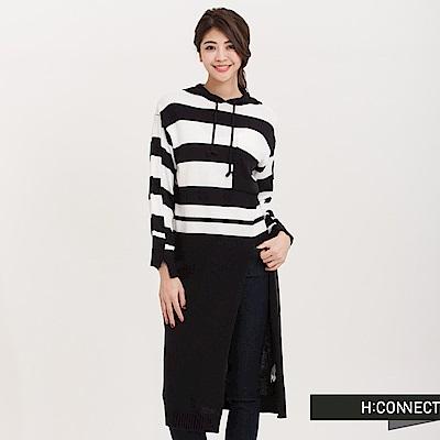 H:CONNECT韓國品牌女裝橫紋側開針織長洋裝-藍快