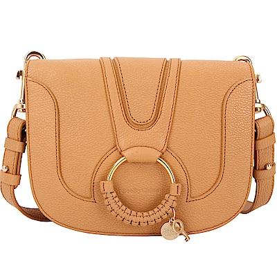 SEE BY CHLOE HANA 小款編織金屬圈手拿/肩背包(棕褐色)