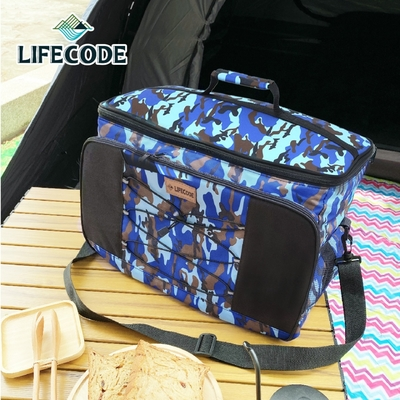 【LIFECODE】藍迷彩保冰袋/保溫袋/保冷袋-(35L公升)
