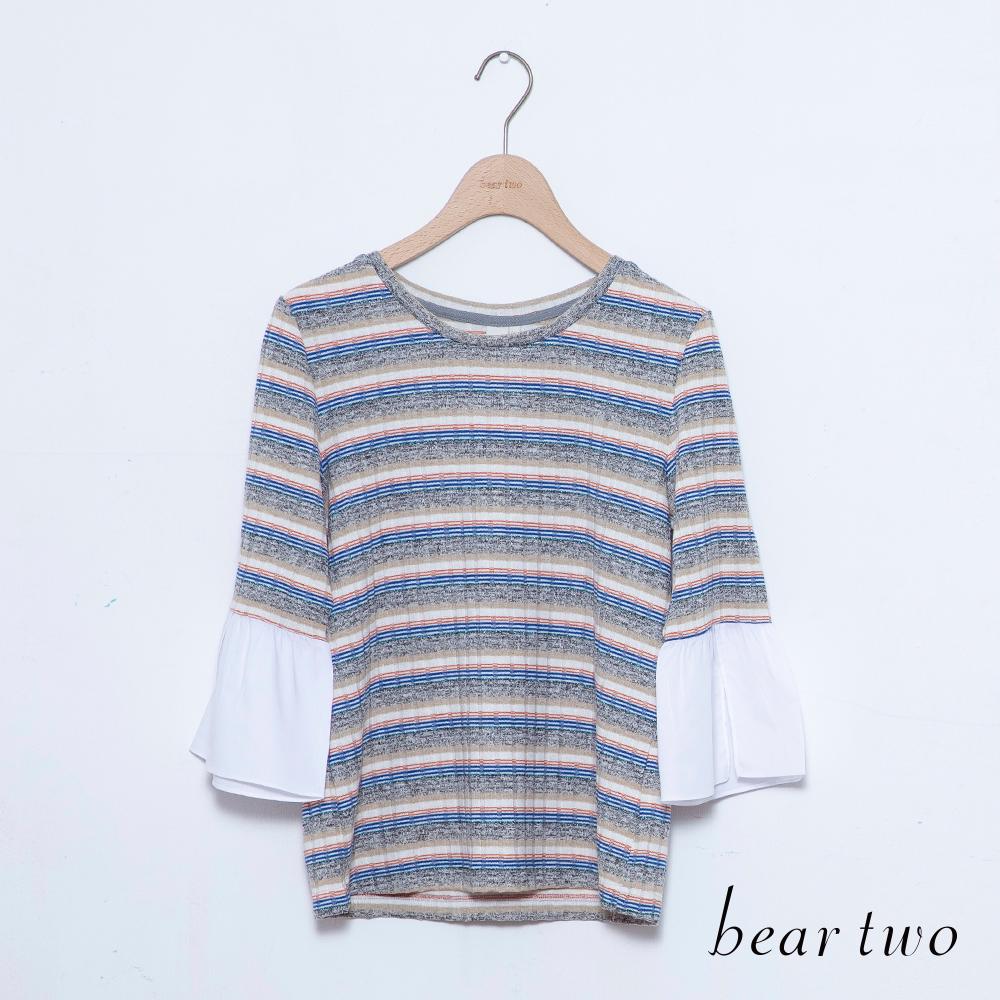 beartwo 拼接白色喇叭袖條紋上衣(二色)