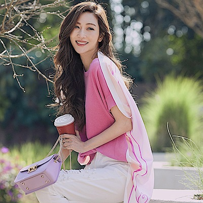 IREAL 2019春夏最IN翻玩印花絲巾拼接上衣