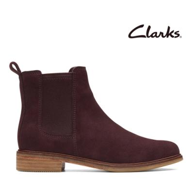 Clarks 科履行蹤 英式經典柔軟麂皮切爾西女靴 酒红色