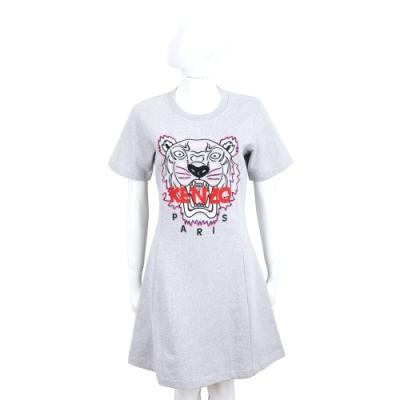 KENZO Tiger 老虎字母刺繡灰色運動衫洋裝