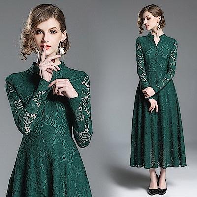 典雅墨綠立領微V蕾絲連身裙M-2XL-M2M