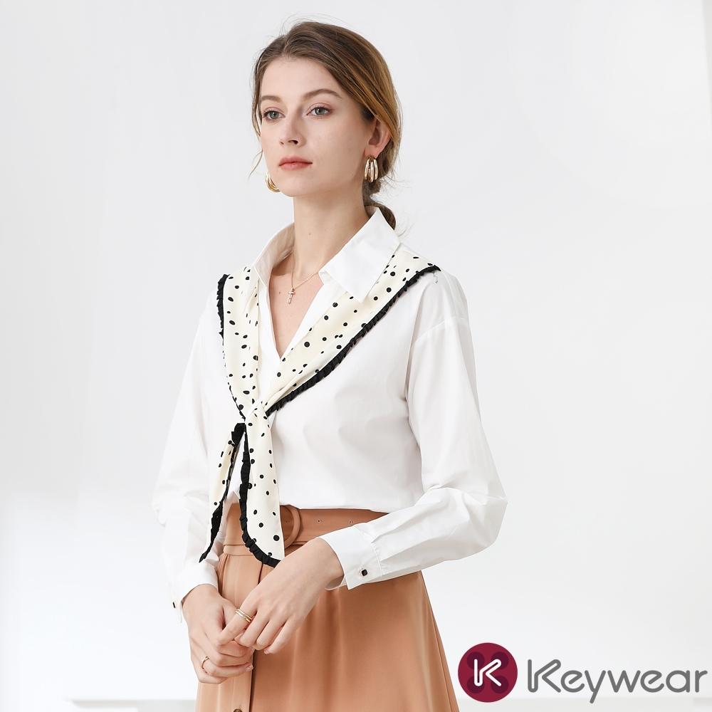 KeyWear奇威名品    純色質感拼接設計款長袖上衣-白色