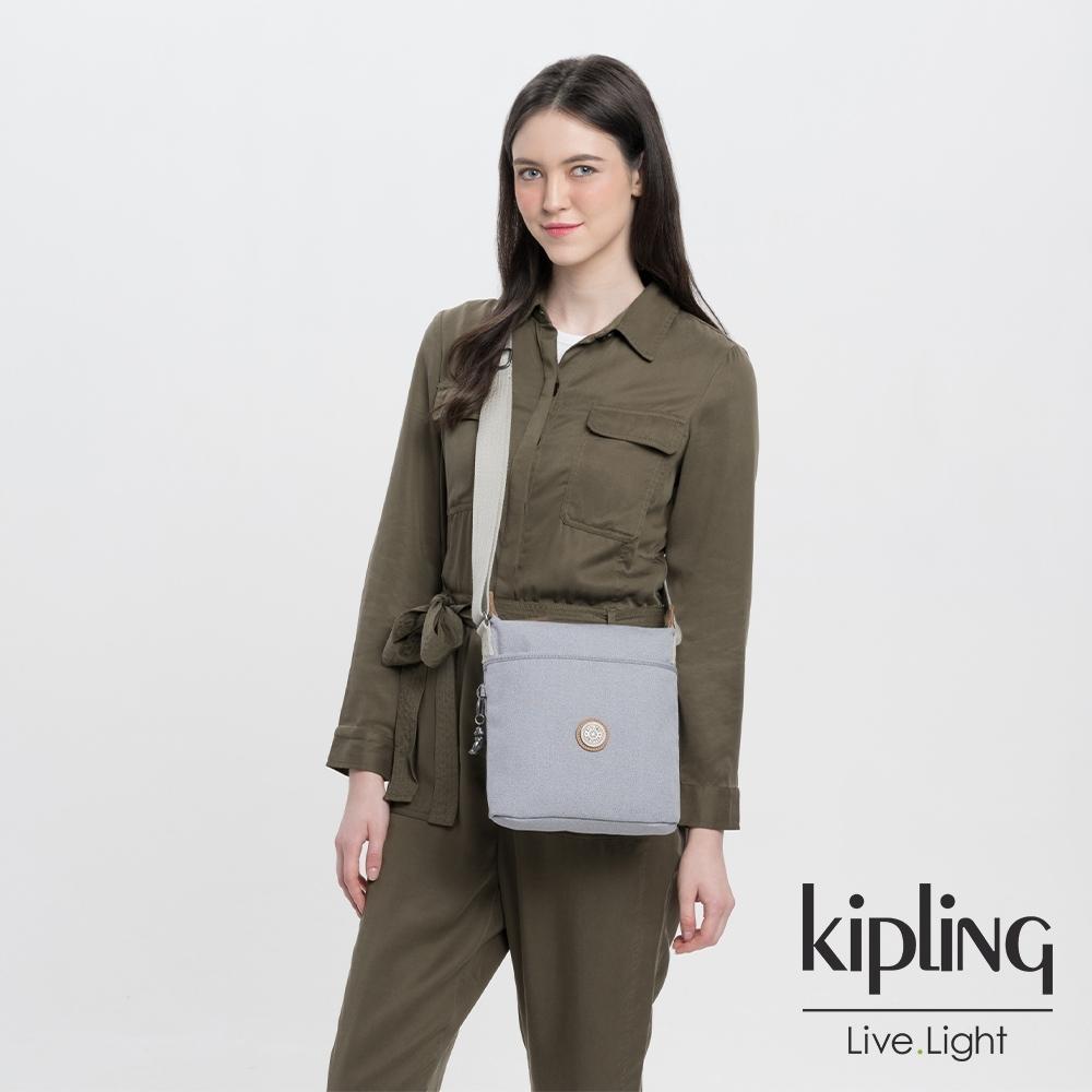Kipling 邊緣地帶系列低調皮革質感霧灰簡約斜背方包-KALAO