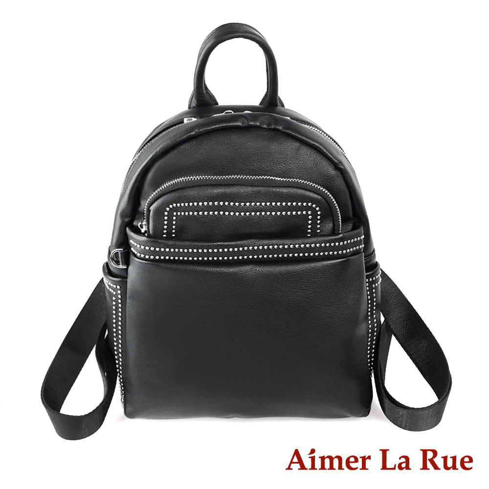 Aimer La Rue 布雷曲簡約後背包-黑色(快)