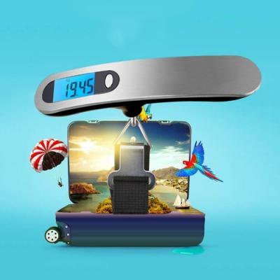 電子行李秤 附電池不鏽鋼拉絲 50kg 攜帶式 迷你式 秤重 旅行秤 手提秤 磅秤 電子秤