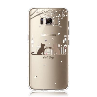 Corner4 Samsung S8  奧地利彩鑽防摔手機殼-午茶貓咪