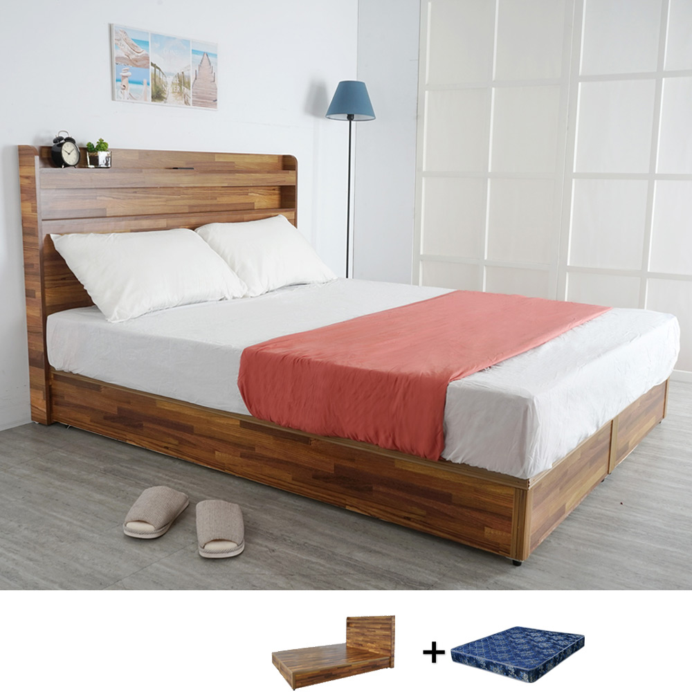 Homelike 鄉村風5尺床墊組三件式(二色)
