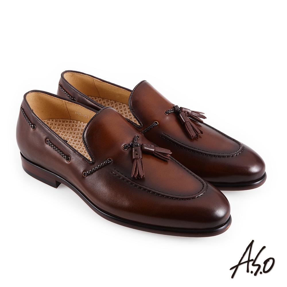 A.S.O職場通勤 零壓挺力流蘇樂福紳士鞋-咖啡