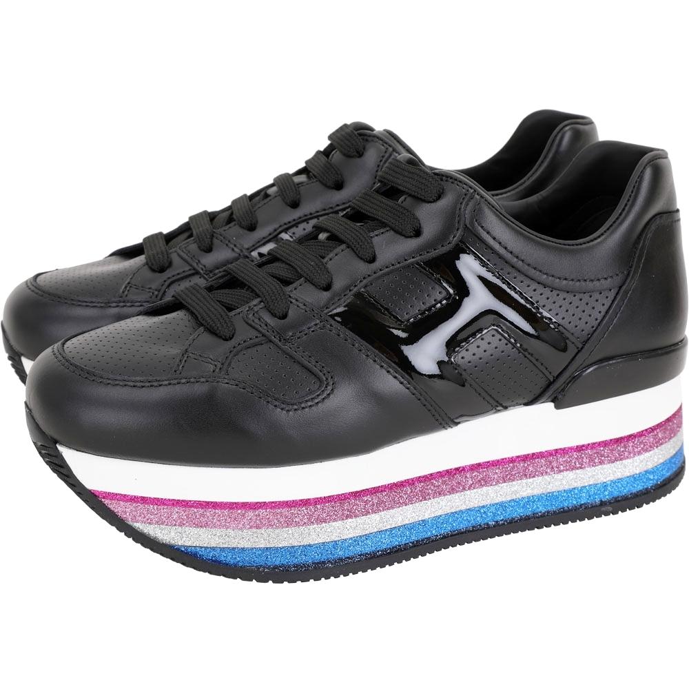 HOGAN Maxi H222 H 彩紅金蔥條紋厚底繫帶休閒鞋(黑色)