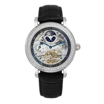 PARKER PHILIP派克菲利浦雙發條盒日月相兩地時區晶鑽鏤空擺輪限量機械腕錶(銀殻/黑帶)