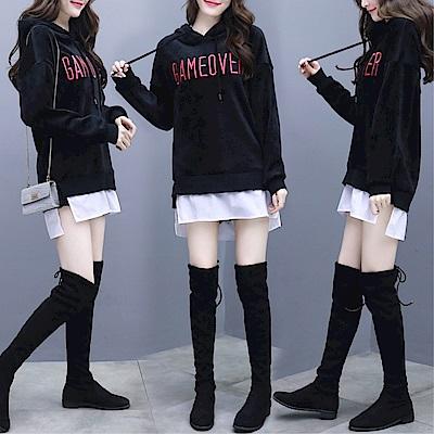 DABI 韓國學院風金絲絨連帽套頭寬松長袖上衣