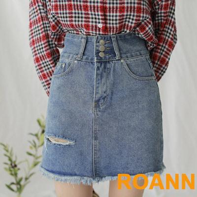 高腰抽鬚刷破流蘇包臀牛仔短裙 (藍色)-ROANN
