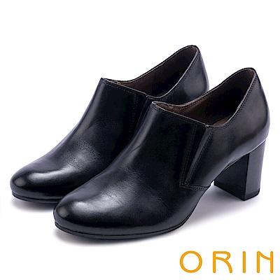 ORIN 中性英倫風必備 雙色打蠟牛皮粗跟牛津鞋-黑色
