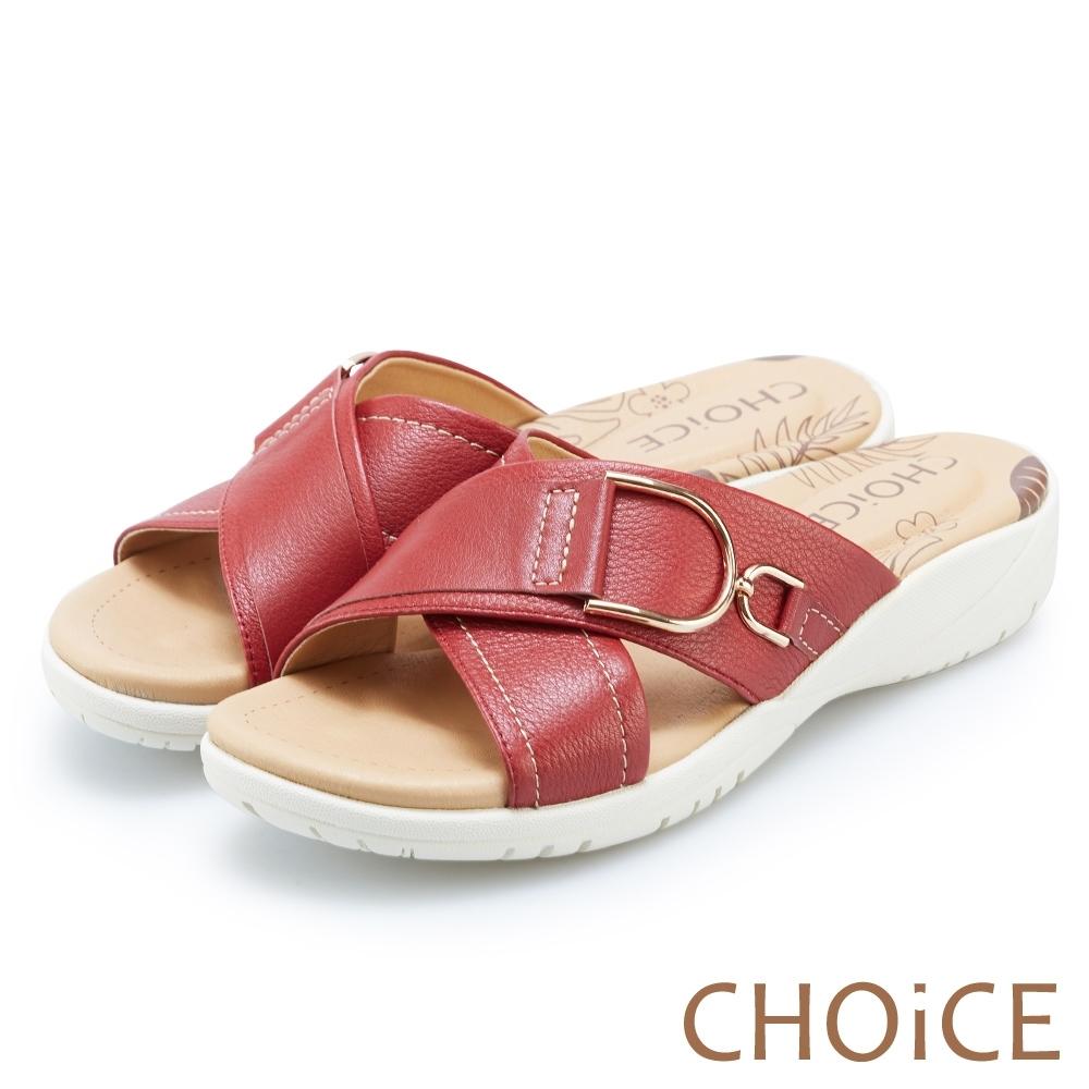 CHOiCE 交叉牛皮大圓釦厚底拖鞋 紅色