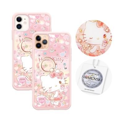 三麗鷗 Kitty iPhone 11全系列施華彩鑽防摔指環扣手機殼-香氛凱蒂