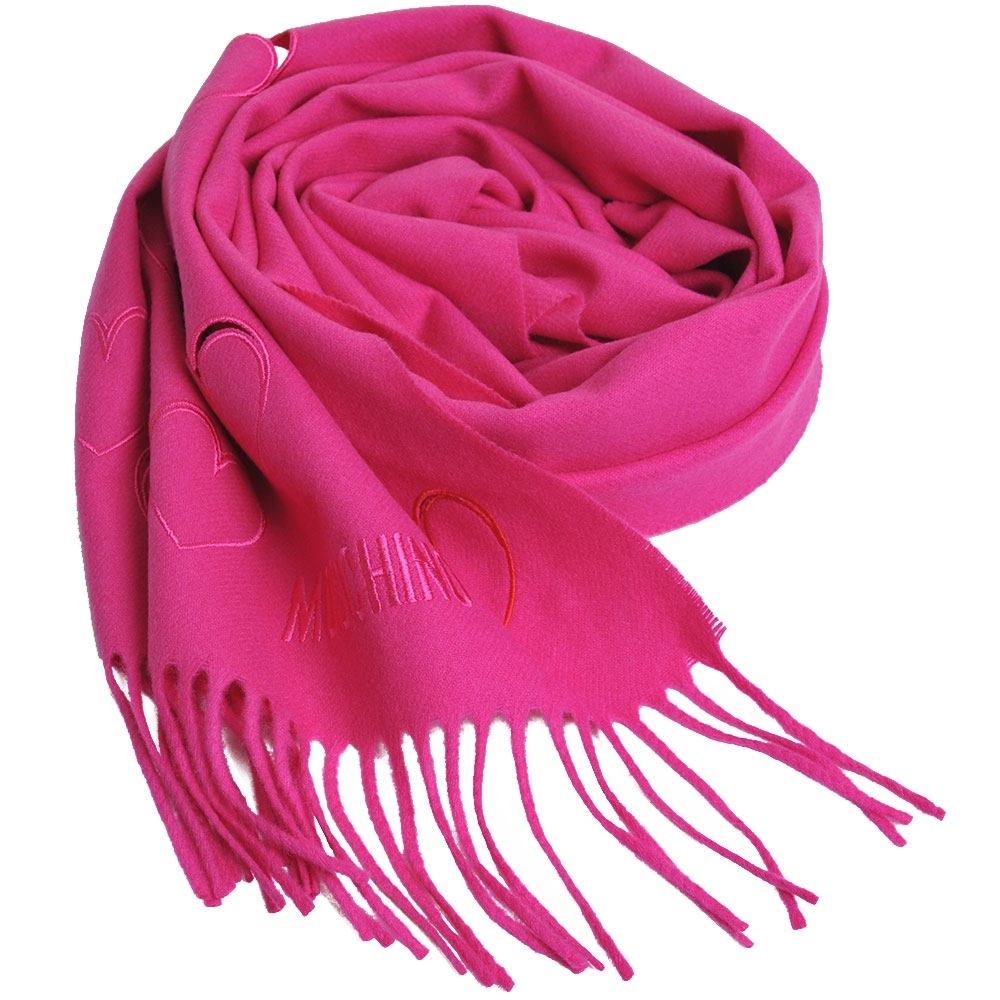 MOSCHINO 義大利製美麗諾羊毛繽紛愛心刺繡圖騰字母LOGO刺繡披肩/圍巾(桃紅色) @ Y!購物