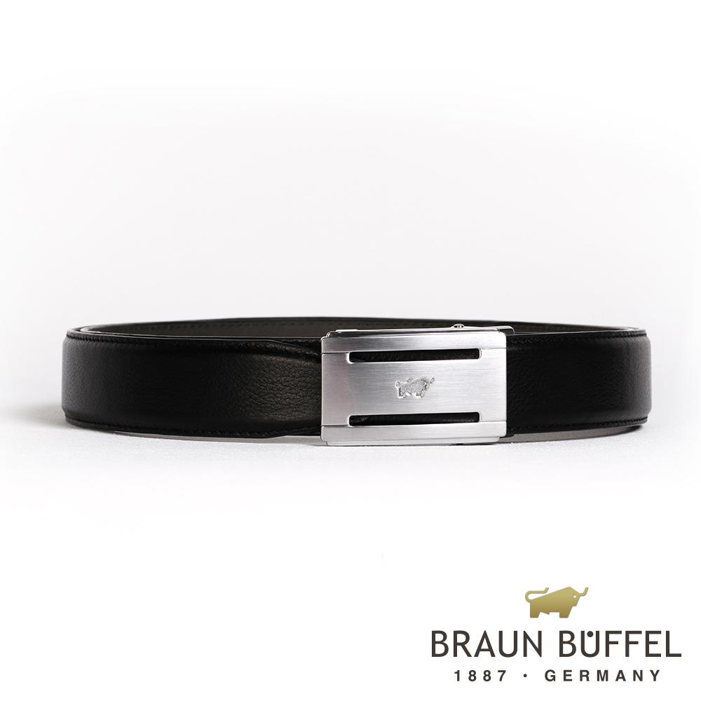 BRAUN BUFFEL - 極致品味紳士自動扣皮帶 - 銀色