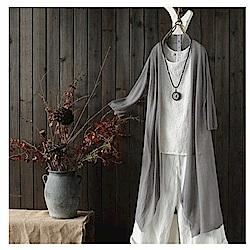 飄逸自然寬鬆不規則中長版棉麻外套針織衫-設計所在