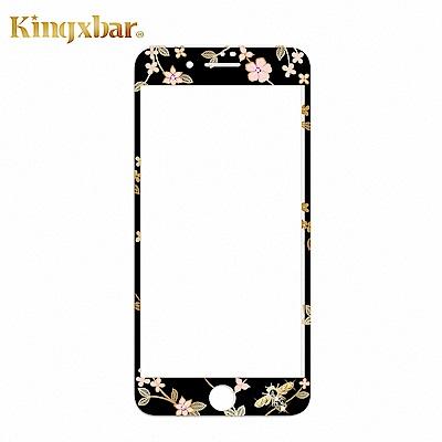 Kingxbar iPhone 8 Plus 施華洛世奇彩鑽鋼化玻璃保護貼-蜂靡黑
