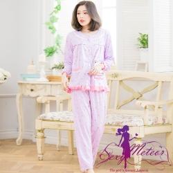 睡衣 全尺碼 熊印花哺乳孕婦裝居家長袖二件式睡衣組(甜美淺紫) Sexy Meteor