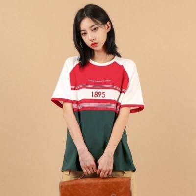 T恤 圓領撞色刺繡五分袖T恤OU13461-創翊韓都