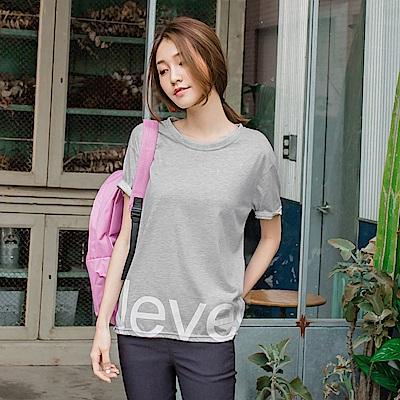 台灣製造.下襬印字純色寬鬆落肩T恤.2色-OB大尺碼