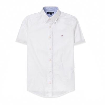 TOMMY 經典刺繡Logo短袖襯衫-白色