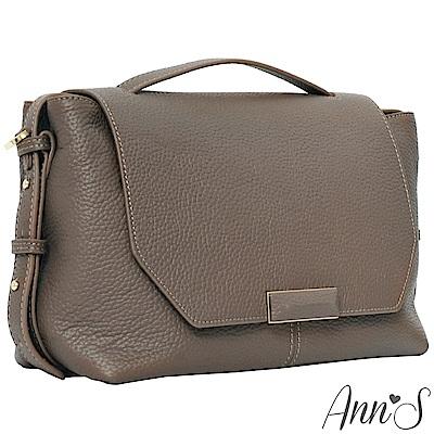 Ann'S都會OL-頂級牛皮全真皮手提肩背兩用包-卡其