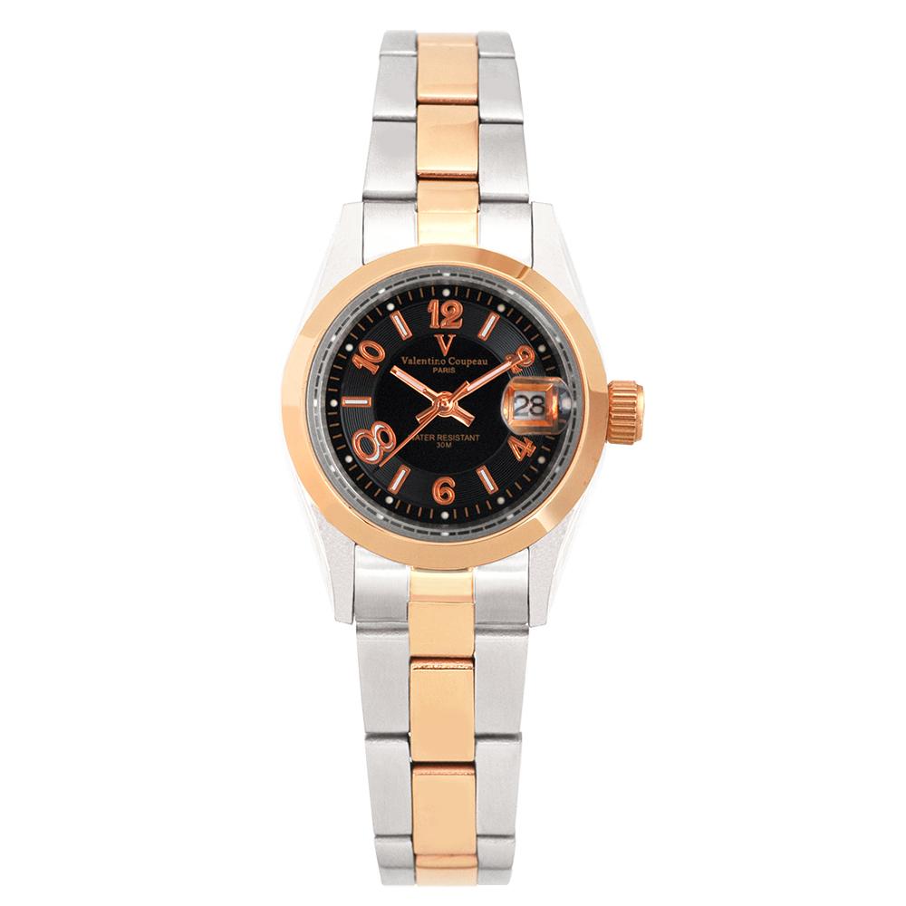 Valentino Coupeau 范倫鐵諾 古柏 都會數字腕錶 (半玫/黑面/女錶) @ Y!購物