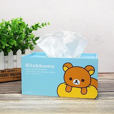 Rilakkuma 拉拉熊 懶懶熊超萌抽拉式 面紙盒 衛生紙盒-放空中-天藍