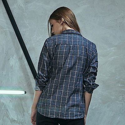 CACO-細條格紋襯衫-情侶款(兩色)-女【RNC010】