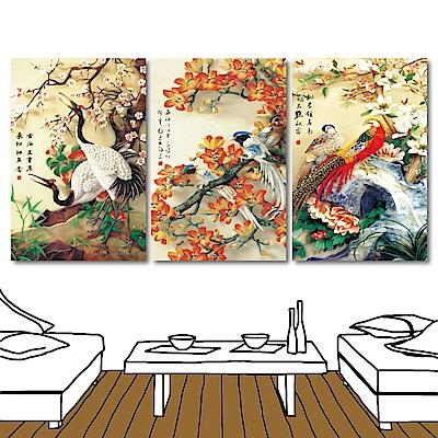 橙品油畫布 三聯式中國風無框畫-喜臨門40x60cm