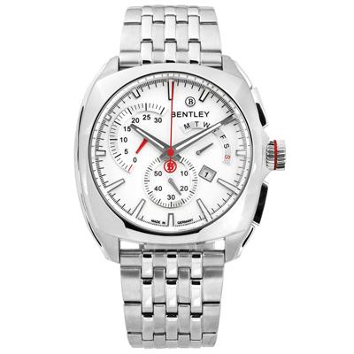 BENTLEY 賓利 德國製造 藍寶石水晶玻璃 日期 三眼 不鏽鋼手錶-白色/43mm