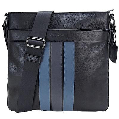 COACH 新款男用拉鍊皮革斜背包(黑X藍)