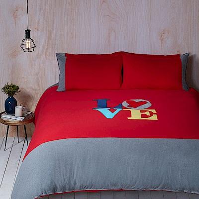 Yvonne Collection LOVE(紅)加大三件式被套組+壓縮枕一對