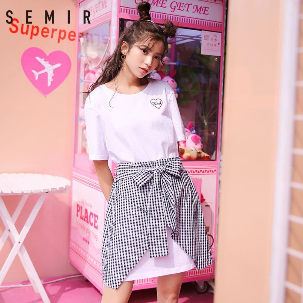 SEMIR-街頭少女風假兩件綁帶洋裝