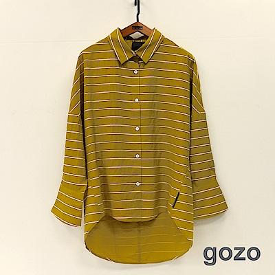 gozo 俏皮復古小喇叭袖條紋襯衫(二色)