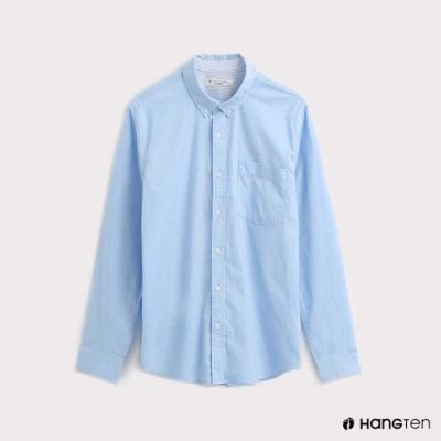 Hang Ten-男裝質感純色牛津襯衫-淺藍