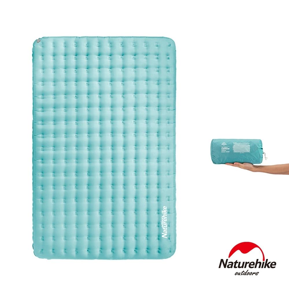 Naturehike 舒適雙人輕量加厚加寬TPU充氣睡墊 防潮墊 海水藍